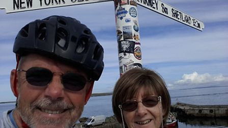 Simon and wife Bridy at the start of the route.