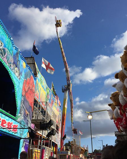 These fairgoers flew high above Baldock, spinning and screaming as they went.