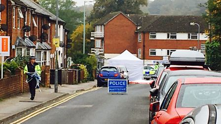 Bunyan Road in Hitchin was closed on Saturday morning following a stabbing. Photo: Layth Yousif