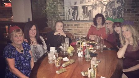Anita Waller, left, with fellow staff from L&L Hair and Beauty Salon in Stevenage at their Christmas