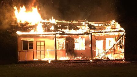 Fire completely destroyed a cricket pavilion in Elsenham last night. Pic: Essex Fire
