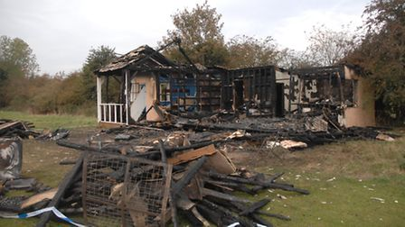 The cricket pavilion in Elsenham, which was destroyed by fire on Sunday night (October 23)