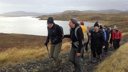 Fazilet Hadi, second from left, during her trek across Iceland for the Royal National Institute of B