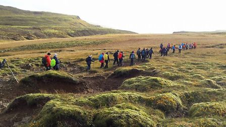 Fazilet Hadi and her group trekking across Iceland for the Royal National Institute of Blind People.