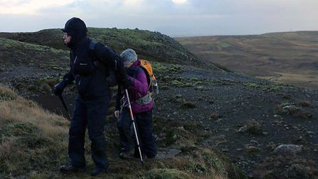 Fazilet Hadi, right, during her trek across Iceland for the Royal National Institute of Blind People