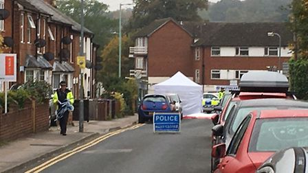 The scene at the corner of Fishponds Road and Bunyan Road in Hitchin. Photo: Layth Yousif