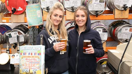 Carmen Crouch and Holly Wilmot behind the bar at the Half Moon Best of British Beer Festival.