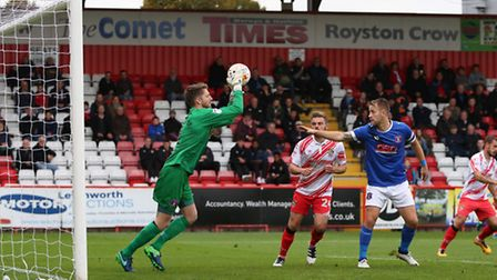 Carlisle keeper Mark Gillespie collects Henry Cowans' header. Photo: Danny Loo