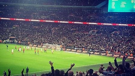 Wembley erupts in joy after Adam Lallana's penalty to put Enlgand 1-0 up Spain
