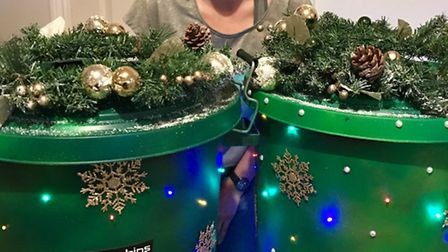 Rachel Campbell's famous 'binstallations' are set for a Christmas makeover as Hitchin prepares for i