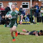 Mark Kimberley races over the try line. Picture: Jamie Pluck