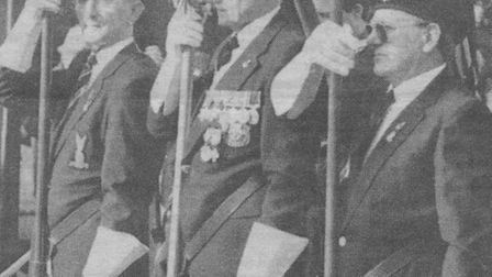 Don Presland, who collected for the Poppy Appeal for 58 years, as a standard bearer for the Royal Br