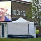Police investigating at the scene in Long Leaves, Stevenage, where Mark Altabas, inset, died of a st