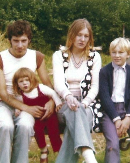 Happier times: Amanda with her mother Susan Lowson, her father and her cousin Greg