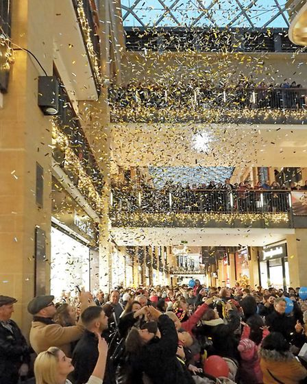Lights on and confetti falls at the Grand Arcade - Countdown to Christmas!