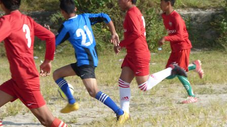 Action during the 'Letchworth Garden City Eagles v. Baldock Town' match in Nepal.