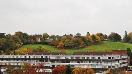 The view looking east from the top of St Mary's church tower towards Windmill Hill