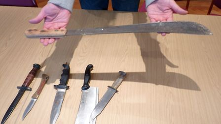 Some of the weapons handed in included a cleaver and a machete