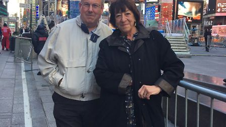 Keith Hoskins and Judi Billing in Times Square, New York