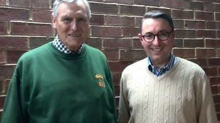 Robin Oake, left, with Christchurch Baldock minister Chris Jenkins at Letchworth Free Church hall.