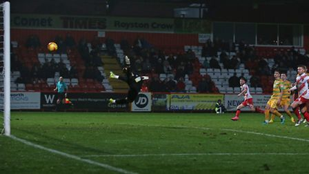 Ben Kennedy scores a brilliant goal to put Stevenage 2-1 up. Picture: Danny Loo