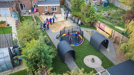An aerial view of the transformed garden. Photo: Aerial Images Ltd