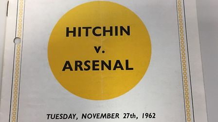 The match programme from Hitchin v Arsenal 1962