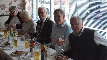 Some of the guests at the meal. From left to right: Anthony Burrows, Mary Muir, Councillor John Boot