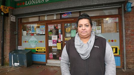Shop owner Bal Chahal has lost 20 per cent of her business after North Herts Homes have moved 100 pe