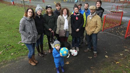 Campaigners pictured on Smithson's Rec at the time of the protest.