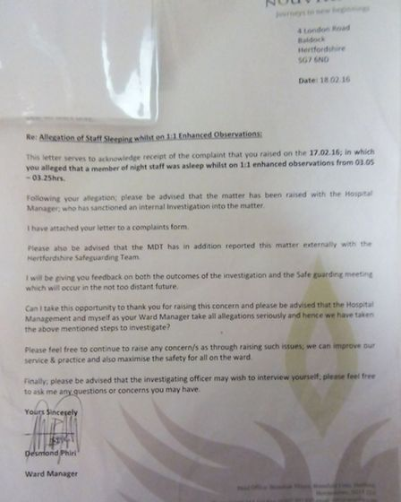 This appears to be a letter signed by ward manager Desmond Phiri acknowledging the allegation.