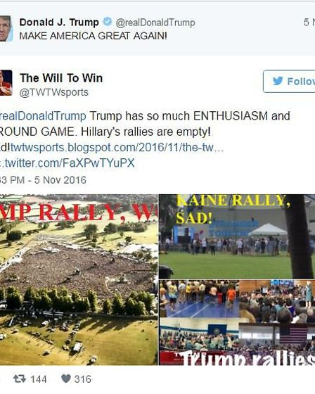 Donald Trump supporter tweets a picture of Oasis at Knebworth