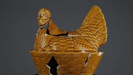 The reconstructed chicken-shaped casserole pot which Yvonne Caylor used to kill her half-sister Nico