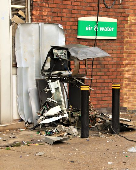 The cash machine was blown up by thieves. Picture: Clive Porter