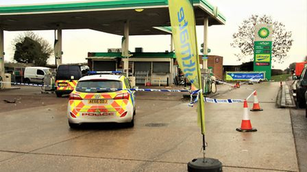 Police closed off the BP garage. Picture: Clive Porter
