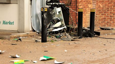 The cash machine was blown up in the early hours of this morning. Picture: Clive Porter