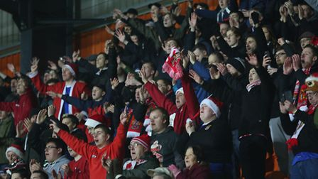 Happy Stevenage FC supporters after the win at Barnet