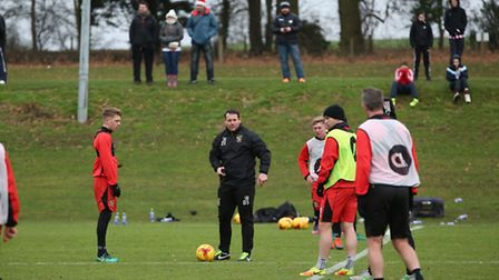 Stevenage FC hold an open training session for fans.