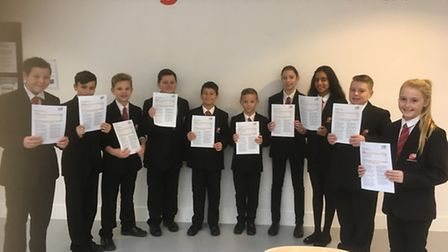 Marriotts pupils posting with the 'Good' Ofsted report