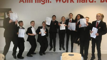 Marriotts pupils after their Ofsted success.