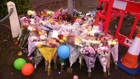 Floral tributes to Bryce Donovan at the scene of the crash on Lytton Way, Stevenage.