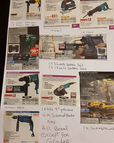 Martin prepared this list showing which tools he has had stolen.