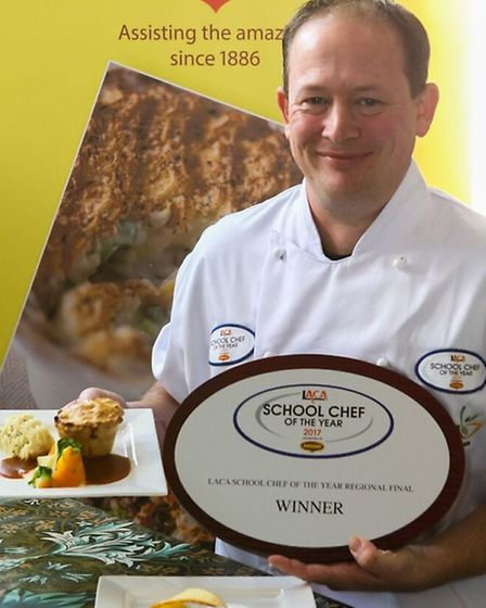 Award-winning Stevenage dinner man Michael Goulston with his prize and winning dishes.