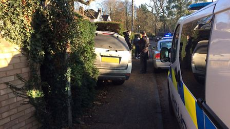 A car left the road in Rectory Lane, Stevenage, this morning. Picture: Phil Cooper.