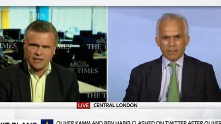 Times writer Oliver Kamm and Brexit Party MEP Ben Habib debate if the party is racist. Photograph: S
