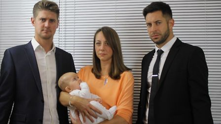 Mark Whitaker, Gemma Nye, Baby Henry Poole and Richard Slater in Gennaro Capasso's film The Daughter