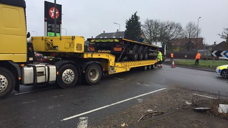 The trailer being recovered from the Sandy roundabout. Photo: @roadpoliceBCH