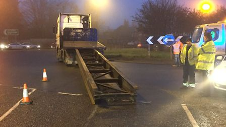 The lorry that lost its trailer on the Sandy roundabout. Photo: @roadpoliceBCH