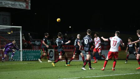 Tom Pett curls one towards the top corner in the 94th minute but it goes wide.