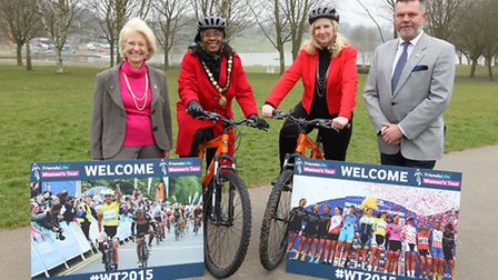 Sherma Batson when she got her bike with Stevenage Borough Council leader Sharon Taylor to welcome t